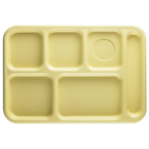 """Cambro 10146CW145 Camwear 10"""" x 14 1/2"""" Yellow 6 Compartment Serving Tray - 24/Case"""