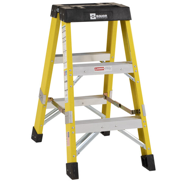 Bauer Corporation 35203 352 Series Type 1AA 3' Safety Yellow Fiberglass Two-Way Step Ladder - 375 lb. Capacity Main Image 1