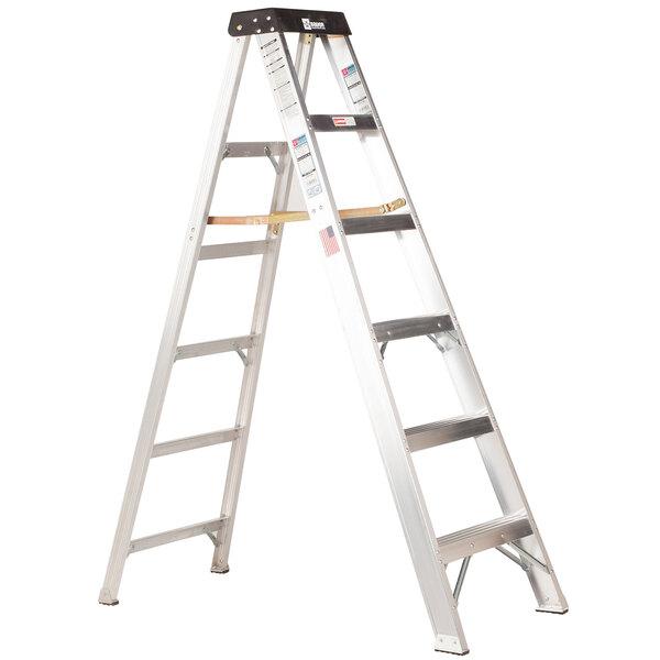 Bauer Corporation 20106 201 Series Type 1A 6' Aluminum Step Ladder - 300 lb. Capacity Main Image 1