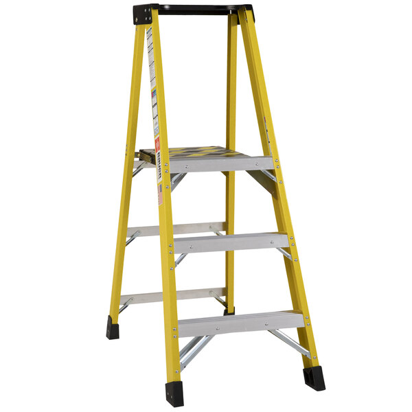 Bauer Corporation 35105 351 Series Type 1AA 5' Safety Yellow Fiberglass Platform Ladder with Steel Platform - 375 lb. Capacity Main Image 1