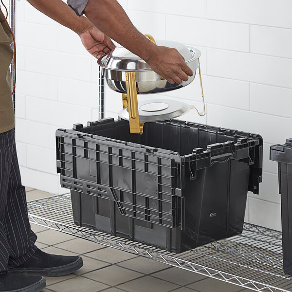 """Choice 19 13/16"""" x 14"""" x 12 15/16"""" Medium Stackable Black Chafer Tote / Storage Box with Attached Lid Main Image 3"""