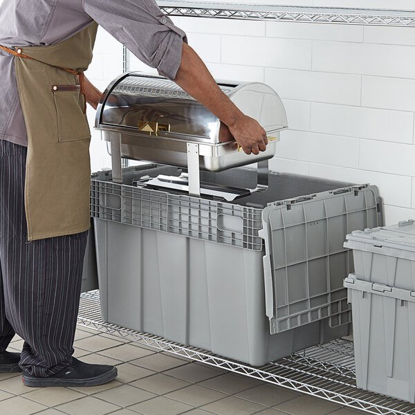 """Choice 28 3/4"""" x 20 13/16"""" x 20 1/2"""" Stackable Grey Chafer Tote / Storage Box with Attached Lid Main Image 3"""