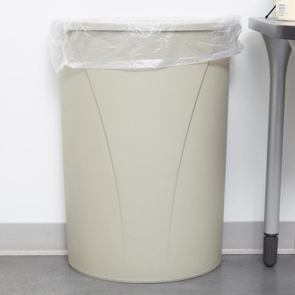 Carlisle 34302106 21 Gallon Centurian Beige Half Round Wall Hugger Trash Can