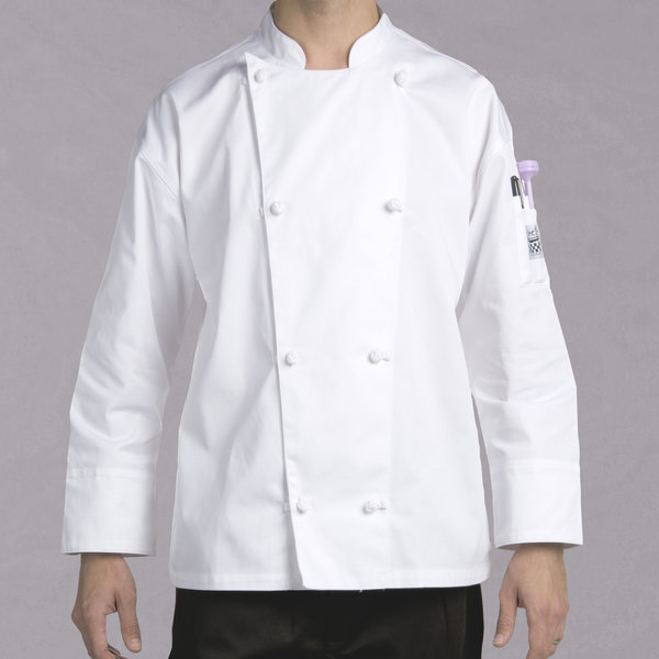 Chef Revival Silver Knife and Steel J003 Unisex White Customizable Long Sleeve Chef Jacket with Cloth Knot Buttons - 3X Main Image 1