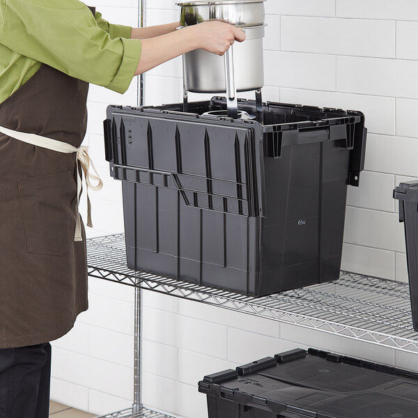 """Choice 19 13/16"""" x 14"""" x 17 1/8"""" Large Stackable Black Chafer Tote / Storage Box with Attached Lid Main Image 3"""