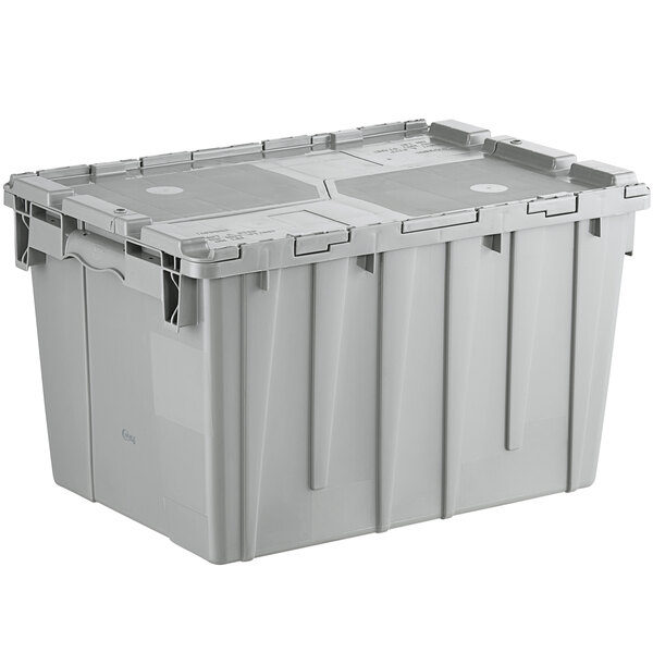 """Choice 19 13/16"""" x 14"""" x 12 15/16"""" Medium Stackable Grey Chafer Tote / Storage Box with Attached Lid Main Image 1"""