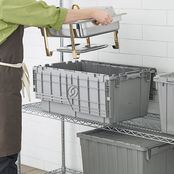 "Choice 25 1/4"" x 15 1/2"" x 12 1/8"" Stackable Grey Chafer Tote / Storage Box with Attached Lid Main Image 3"