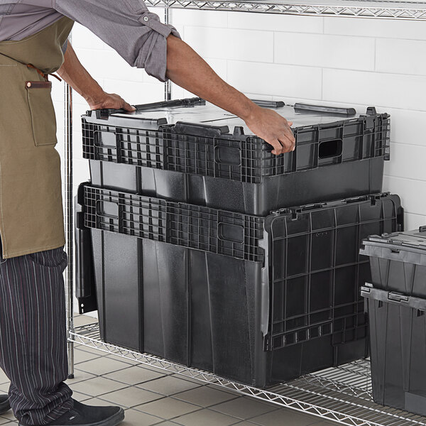 """Choice 28 3/4"""" x 20 13/16"""" x 20 1/2"""" Stackable Black Chafer Tote / Storage Box with Attached Lid Main Image 3"""
