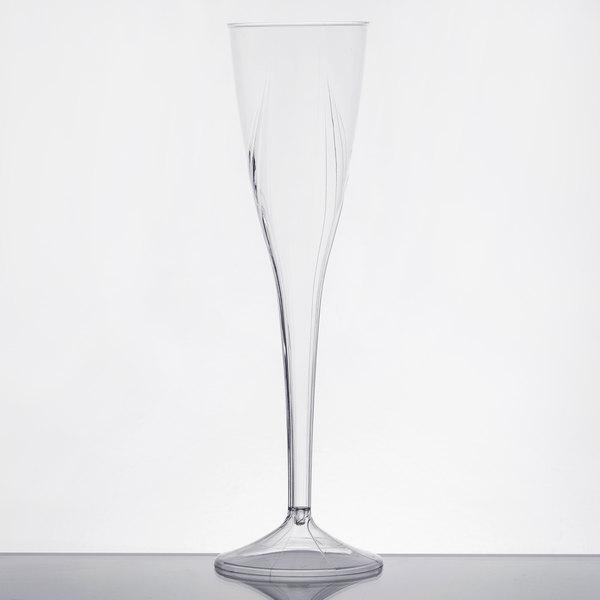 WNA Comet CWSC5 5 oz. 1-Piece Clear Plastic Classicware Champagne Glass  - 100/Case