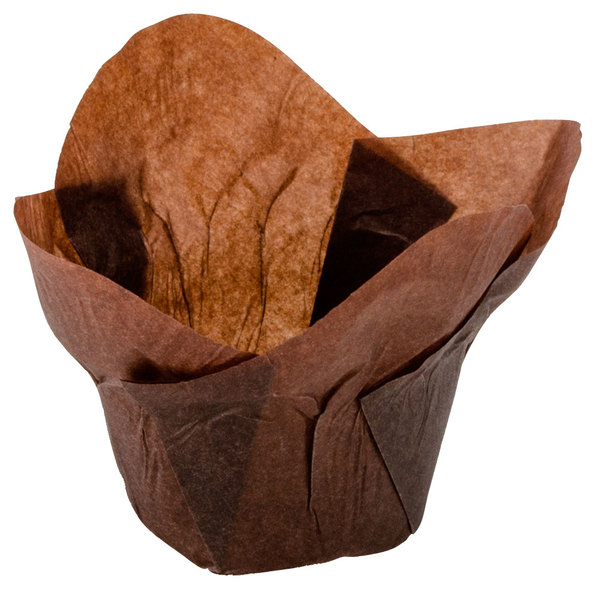 "Hoffmaster 611114 2"" x 2 3/4"" Chocolate Brown Lotus Baking Cups - 250/Pack"
