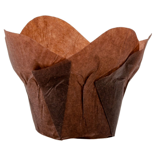 "Hoffmaster 611114 2"" x 2 3/4"" Chocolate Brown Lotus Baking Cups - 250/Pack"