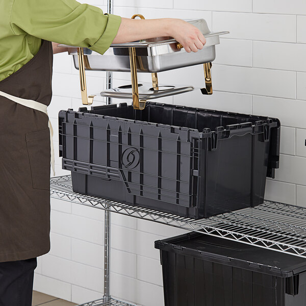 """Choice 25 1/4"""" x 15 1/2"""" x 12 1/8"""" Stackable Black Chafer Tote / Storage Box with Attached Lid Main Image 3"""
