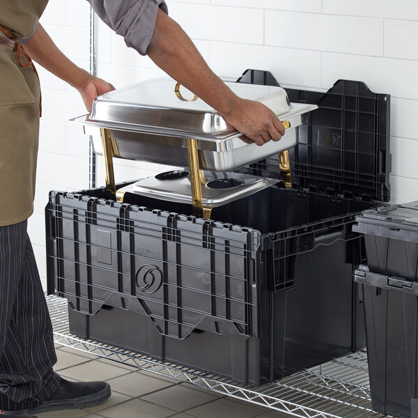 """Choice 26"""" x 19"""" x 15 1/4"""" Stackable Black Chafer Tote / Storage Box with Attached Lid Main Image 3"""