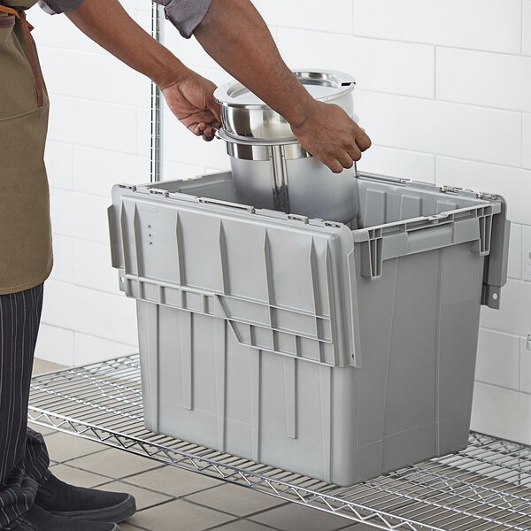 """Choice 19 13/16"""" x 14"""" x 17 1/8"""" Large Stackable Grey Chafer Tote / Storage Box with Attached Lid Main Image 3"""