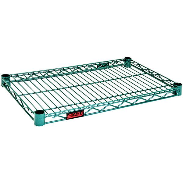 "Eagle Group QA1424VG Quad-Adjust® Valu-Gard® NSF Green Epoxy 14"" x 24"" Wire Shelf Main Image 1"
