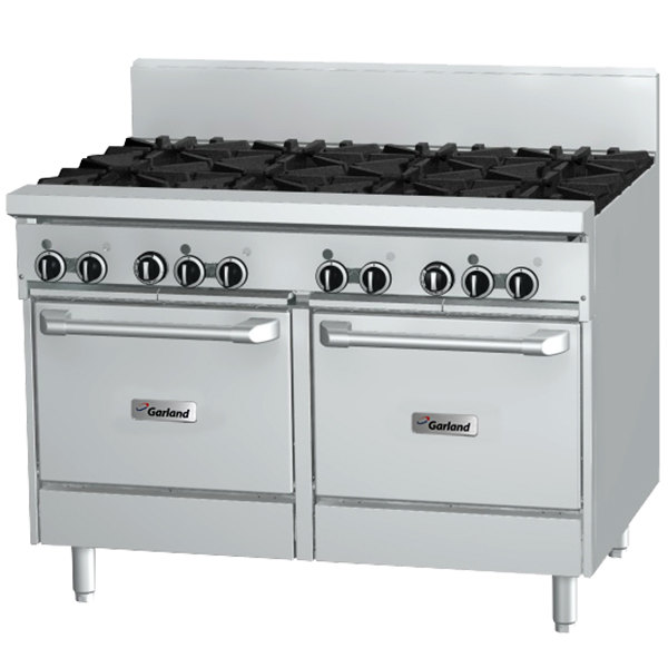 Garland GF48-6G12LL Liquid Propane 6 Burner 48 inch Range with Flame Failure Protection, 12 inch Griddle, and 2 Space Saver Ovens - 238,000 BTU
