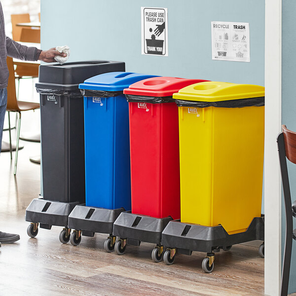 Lavex Janitorial 23 Gallon 4-Stream Slim Rectangular Mobile Recycle Station with Black Drop Shot, Blue Paper Slot, Red Bottle / Can, and Yellow Bottle / Can Lids Main Image 2