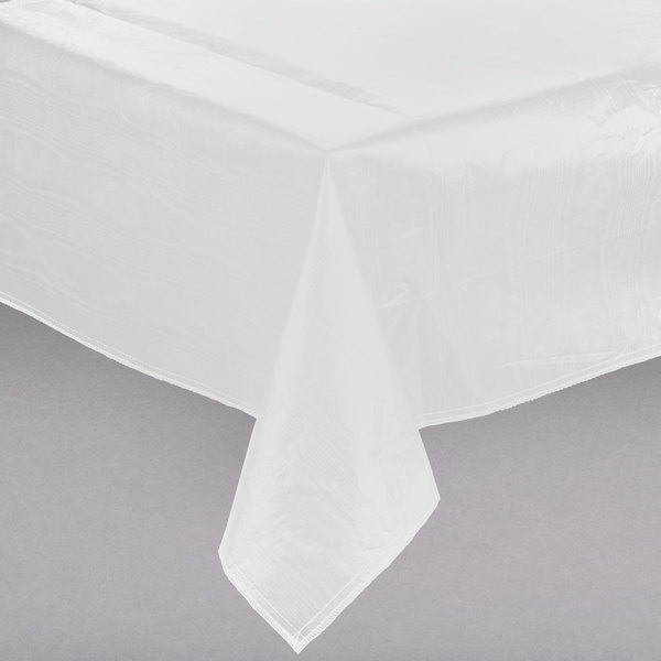 "52"" x 52"" White Vinyl Table Cover with Flannel Back"