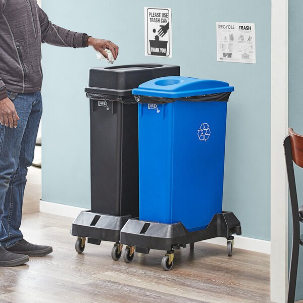 Lavex Janitorial 23 Gallon 2-Stream Slim Rectangular Mobile Recycle Station with Black Drop Shot and Blue Bottle / Can Lids Main Image 2