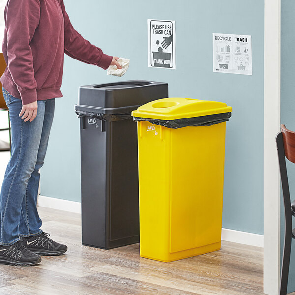Lavex Janitorial 23 Gallon 2-Stream Slim Rectangular Recycle Station with Black Drop Shot and Yellow Bottle / Can Lids Main Image 2