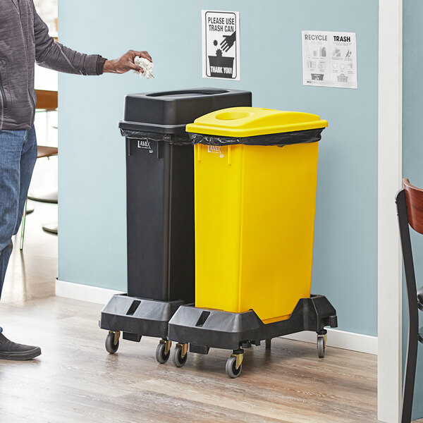 Lavex Janitorial 23 Gallon 2-Stream Slim Rectangular Mobile Recycle Station with Black Drop Shot and Yellow Bottle / Can Lids Main Image 2