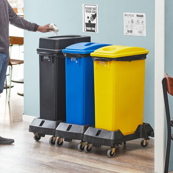Lavex Janitorial 23 Gallon 3-Stream Slim Rectangular Mobile Recycle Station with Black Drop Shot, Blue Paper Slot, and Yellow Bottle / Can Lids Main Image 2