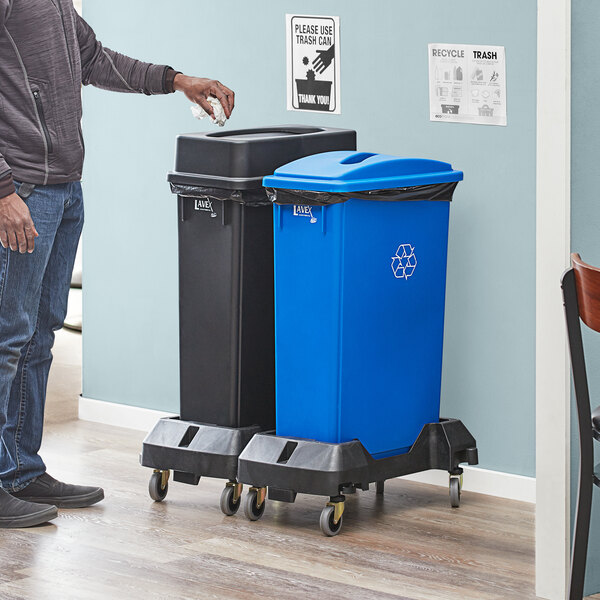 Lavex Janitorial 23 Gallon 2-Stream Slim Rectangular Mobile Recycle Station with Black Drop Shot and Blue Paper Slot Lids Main Image 2