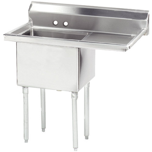 Right Drainboard Advance Tabco FE-1-1824-24 Stainless Steel 1 Compartment Commercial Sink with 1 Drainboard - 44 1/2""