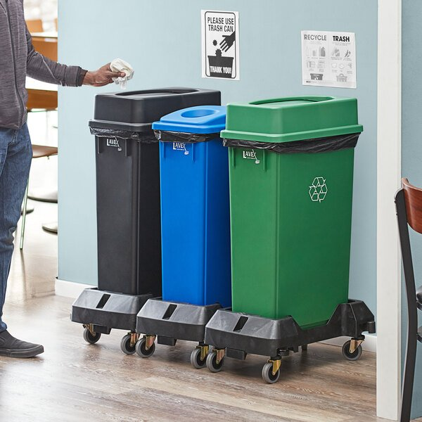 Lavex Janitorial 23 Gallon 3-Stream Slim Rectangular Mobile Recycle Station with Black Drop Shot, Green Drop Shot, and Blue Bottle / Can Lids Main Image 2