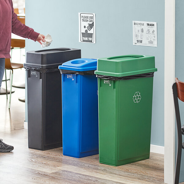 Lavex Janitorial 23 Gallon 3-Stream Slim Rectangular Recycle Station with Black Drop Shot, Green Drop Shot, and Blue Bottle / Can Lids Main Image 2