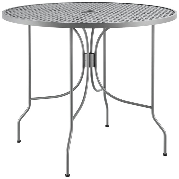"""Lancaster Table & Seating Harbor Gray 36"""" Round Dining Height Powder-Coated Steel Mesh Table with Ornate Legs Main Image 1"""