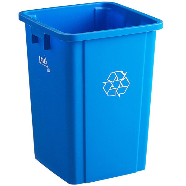 Lavex Janitorial 19 Gallon Blue Square Recycle Bin with Bottle / Can Lid Main Image 1