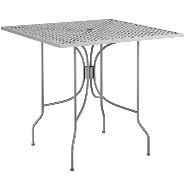 """Lancaster Table & Seating Harbor Gray 30"""" Square Dining Height Powder-Coated Steel Mesh Table with Ornate Legs Main Image 1"""