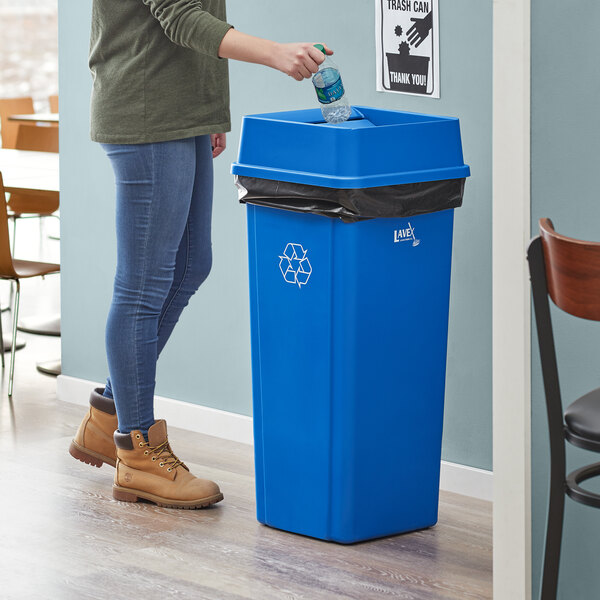 Lavex Janitorial 23 Gallon Blue Square Recycle Bin with Swing Lid Main Image 2