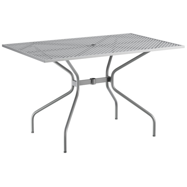 """Lancaster Table & Seating Harbor Gray 30"""" x 48"""" Rectangular Dining Height Powder-Coated Steel Mesh Table with Modern Legs Main Image 1"""