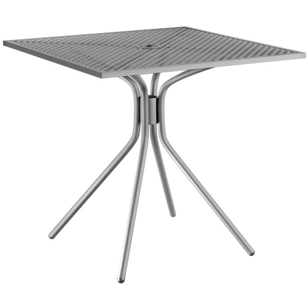 """Lancaster Table & Seating Harbor Gray 30"""" Square Dining Height Powder-Coated Steel Mesh Table with Modern Legs Main Image 1"""