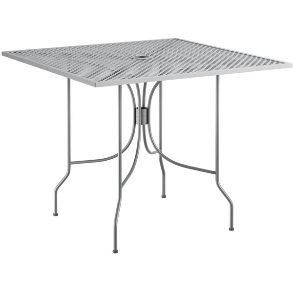 """Lancaster Table & Seating Harbor Gray 36"""" Square Dining Height Powder-Coated Steel Mesh Table with Ornate Legs Main Image 1"""