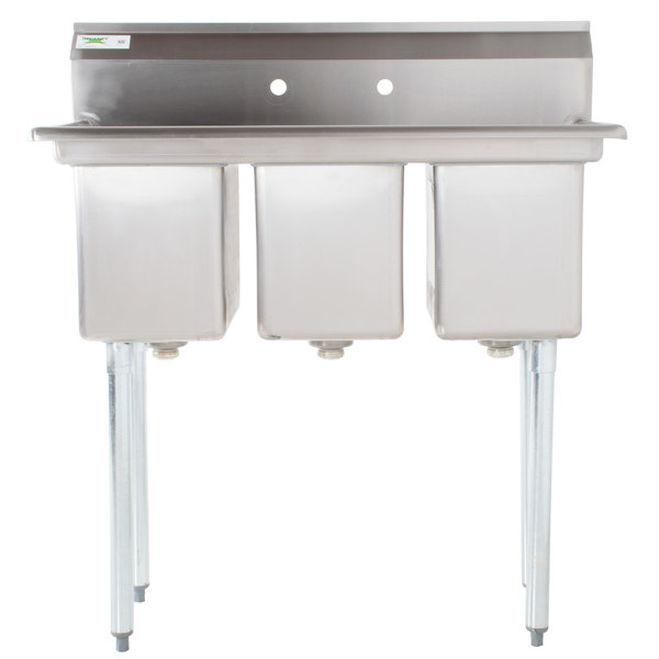 """Regency 39"""" 16-Gauge Stainless Steel Three Compartment Commercial Sink without Drainboards - 10"""" x 14"""" x 12"""" Bowls"""