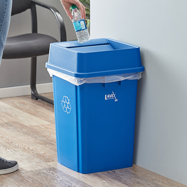 Lavex Janitorial 19 Gallon Blue Square Recycle Bin with Swing Lid Main Image 2