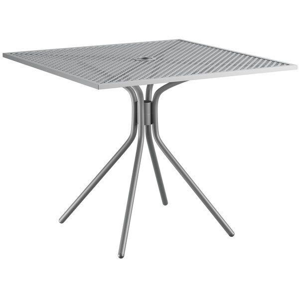 """Lancaster Table & Seating Harbor Gray 36"""" Square Dining Height Powder-Coated Steel Mesh Table with Modern Legs Main Image 1"""