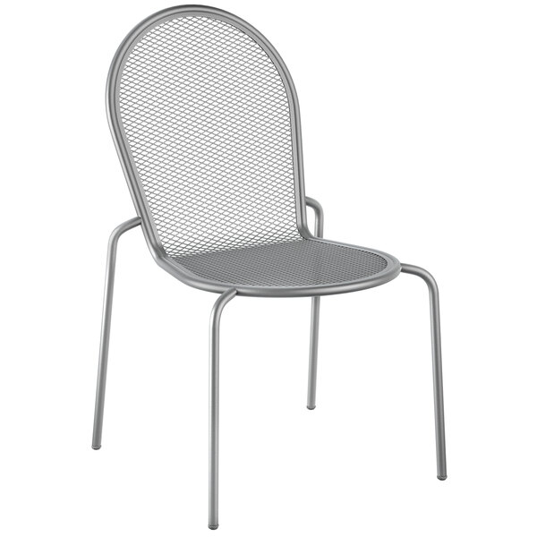 Lancaster Table & Seating Harbor Gray Powder Coated Steel Stackable Outdoor Side Chair Main Image 1