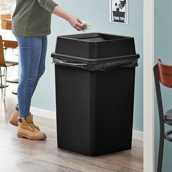 Lavex Janitorial 35 Gallon Black Square Trash Can with Swing Lid Main Image 2