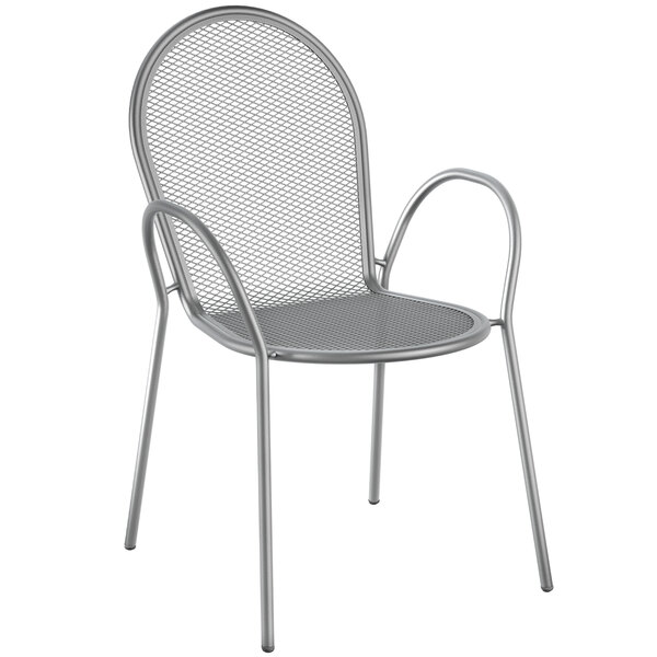 Lancaster Table & Seating Harbor Gray Powder Coated Steel Stackable Outdoor Armchair Main Image 1