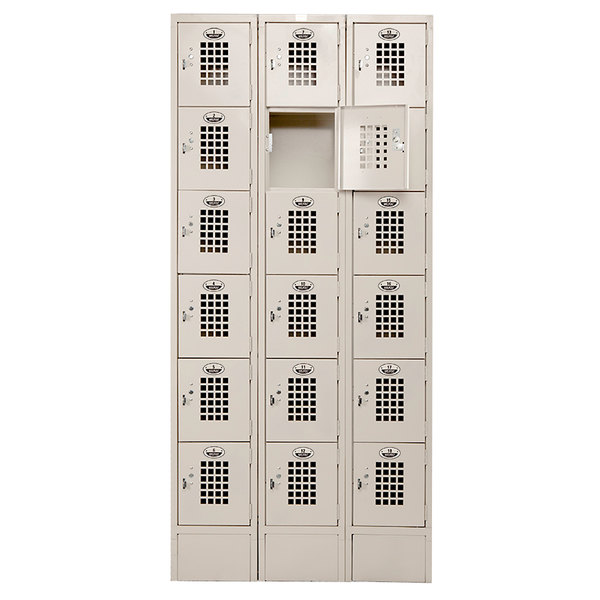 "Winholt WL-618/18 Triple Column Eighteen Door Locker with Perforated Doors - 36"" x 18"""