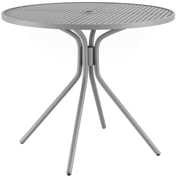 """Lancaster Table & Seating Harbor Gray 36"""" Round Dining Height Powder-Coated Steel Mesh Table with Modern Legs Main Image 1"""