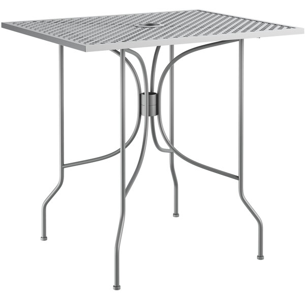 """Lancaster Table & Seating Harbor Gray 24"""" x 30"""" Rectangular Dining Height Powder-Coated Steel Mesh Table with Ornate Legs Main Image 1"""