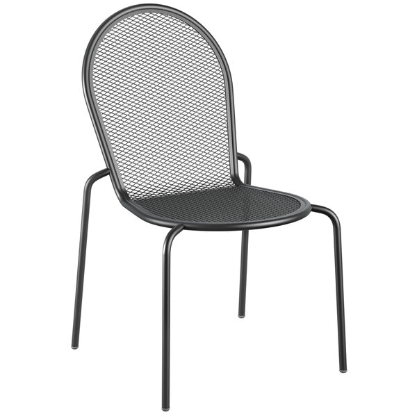 Lancaster Table & Seating Harbor Black Powder Coated Steel Stackable Outdoor Side Chair Main Image 1