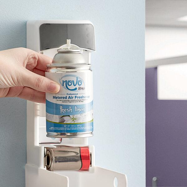 Noble Chemical Novo 7.25 oz. Fresh Linen Metered Air Freshener Refill - 12/Case Main Image 2