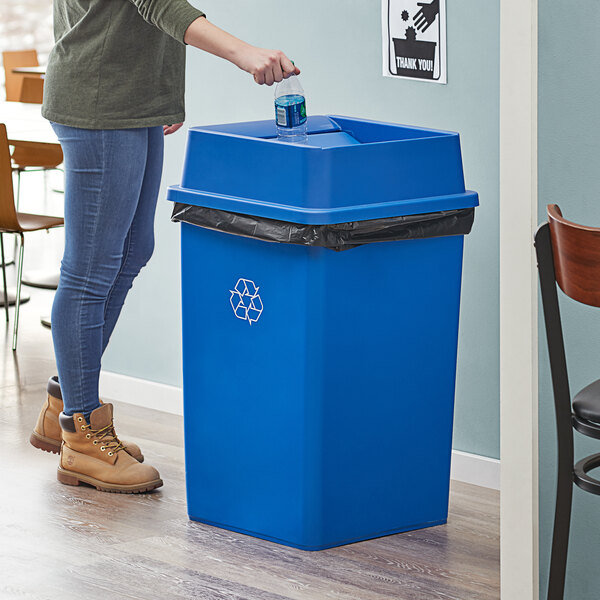 Lavex Janitorial 35 Gallon Blue Square Recycle Bin with Swing Lid Main Image 2