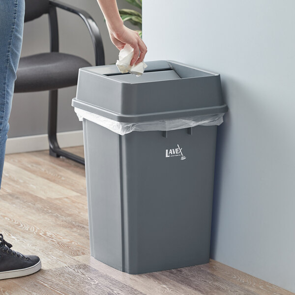 Lavex Janitorial 19 Gallon Gray Square Trash Can with Swing Lid Main Image 2